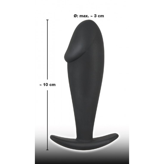 533564 Black butt plug with slight glans and a stopper