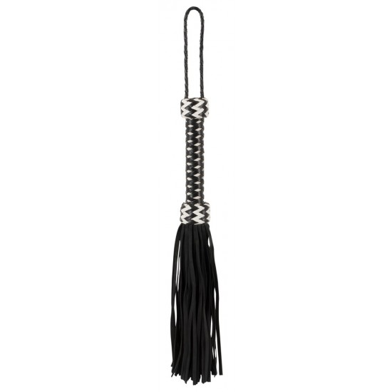 20404922000 Black leather flogger with weaved handle