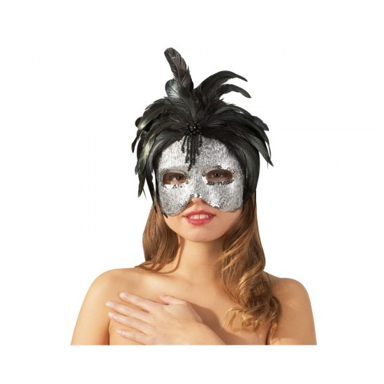 24800186000 Silver Mask with Black Feathers