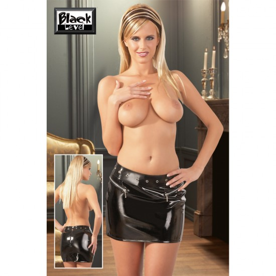 2850109 Vinyl Mini Skirt Black